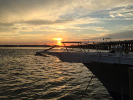 Ocean City Sunset with boat in foreground